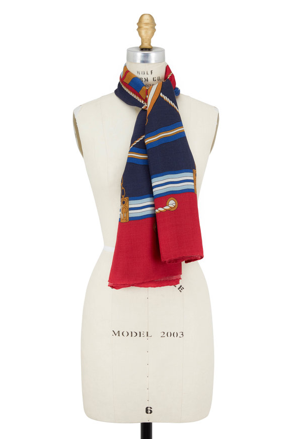 Rani Arabella Red & Navy Nautical Helm Print Scarf