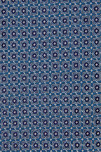 Eton - Light Blue & Navy Tile Pattern Silk Necktie