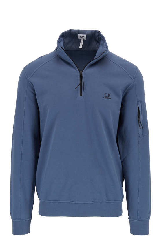 CP Company Dark Denim Blue Cotton Quarter-Zip Pullover