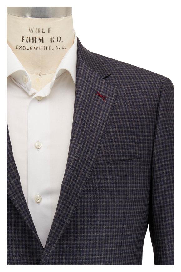 Samuelsohn Navy & Gray Check Wool Sportcoat