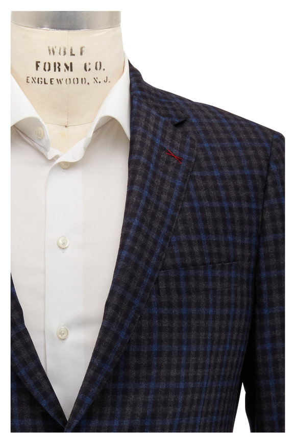 Samuelsohn Navy, Blue & Gray Check Wool Sportcoat