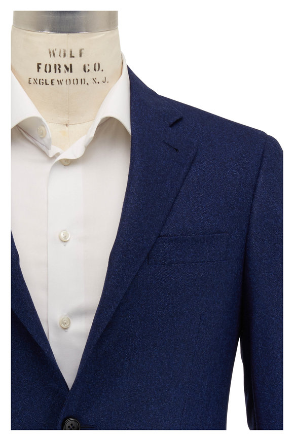 Canali Tonal Navy Textured Wool Sportcoat