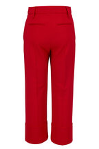 Valentino - Red Crepe Couture Straight Leg Crop Pant