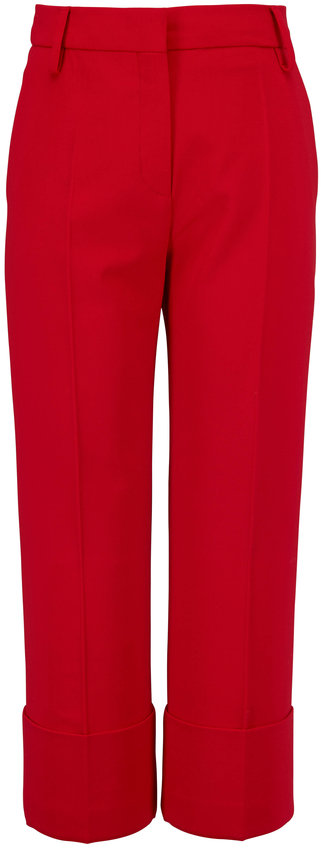 Valentino Red Crepe Couture Straight Leg Crop Pant