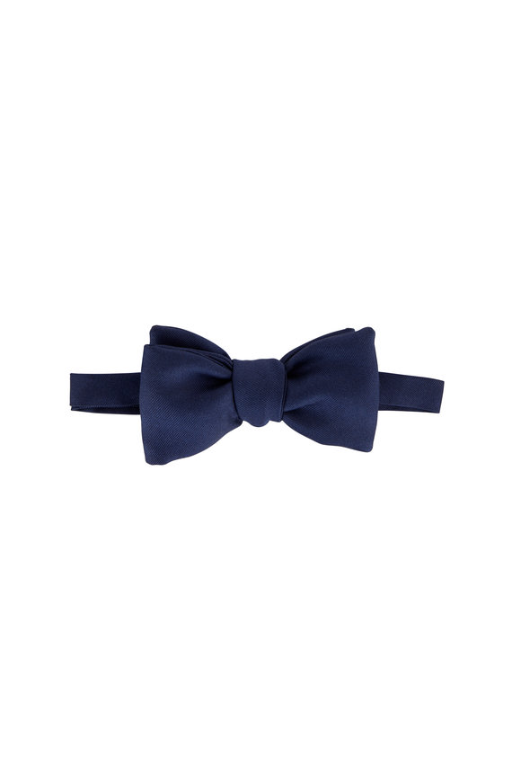 Dolce Punta Navy Blue Satin Large Bow Tie