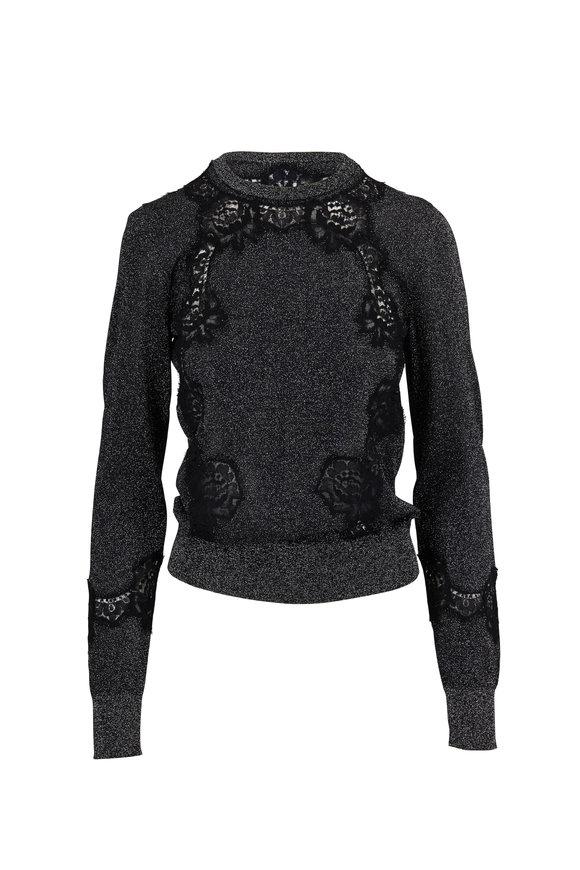Dolce & Gabbana Dark Gray Lace Trim Lurex Knit Sweater