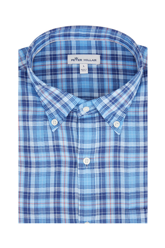 Peter Millar Blue Oak Bluffs Plaid Sport Shirt