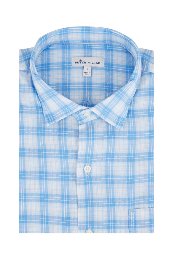 Peter Millar Light Blue Hampton Beach Tartan Sport Shirt