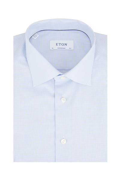 Eton - Light Blue Micro Check Twill Sport Shirt