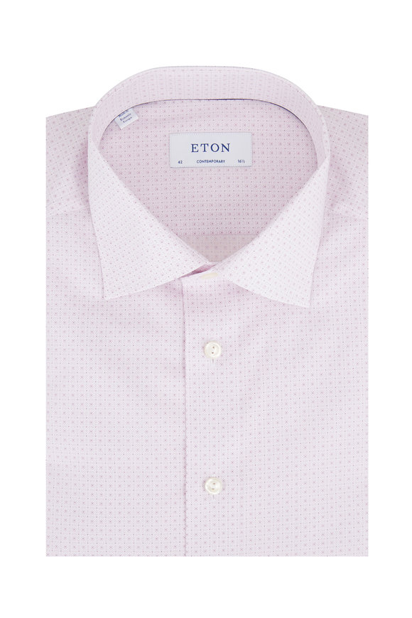 Eton Pink Micro Floral Contemporary Fit Dress Shirt