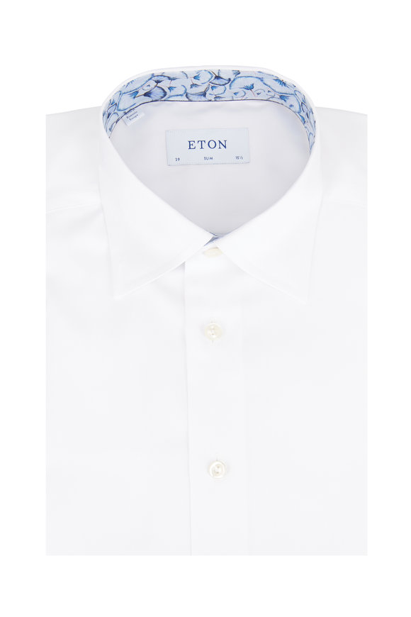 Eton White Signature Twill Slim Fit Sport Shirt