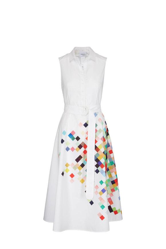Akris Punto White & Multicolor Sleeveless Pixel Print Dress