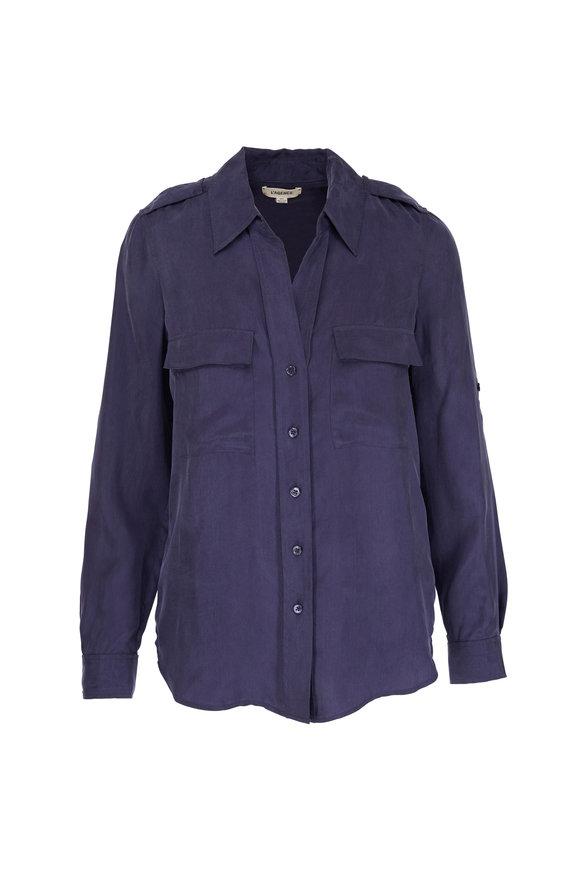 L'Agence Lunetta Blue Military Shirt