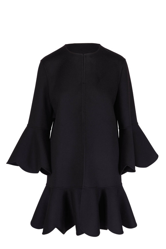 Valentino Black Wool & Cashmere Scalloped Trim Coat