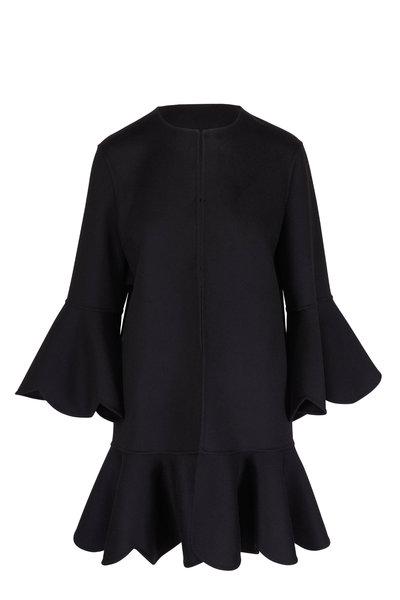 Valentino - Black Wool & Cashmere Scalloped Trim Coat