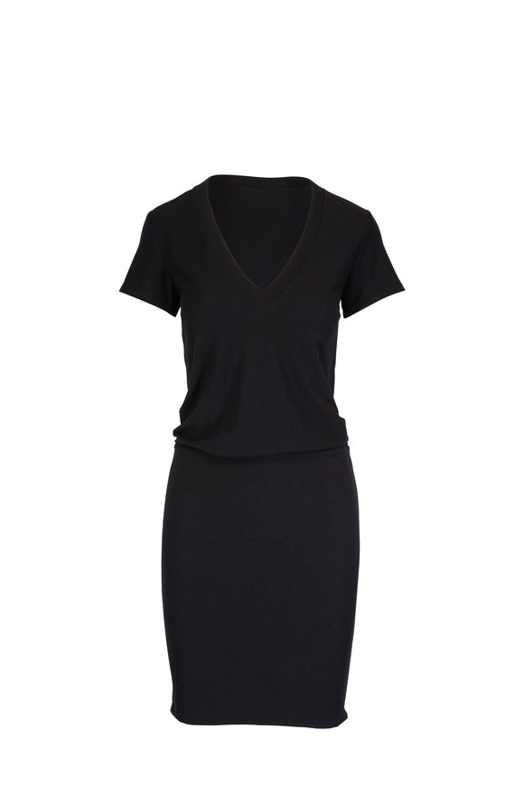 James Perse Black Short Sleeve Blouson Dress