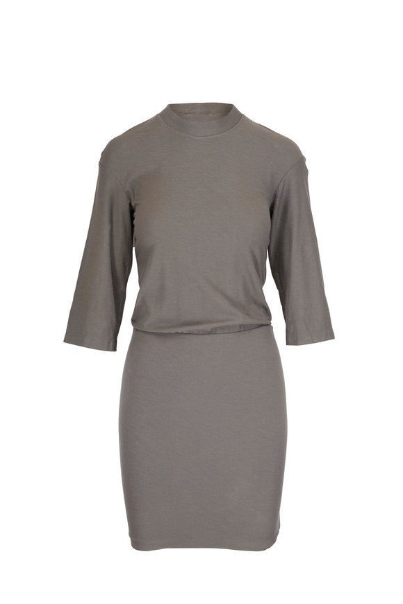 James Perse Green Three-Quarter Sleeve Blouson Dress