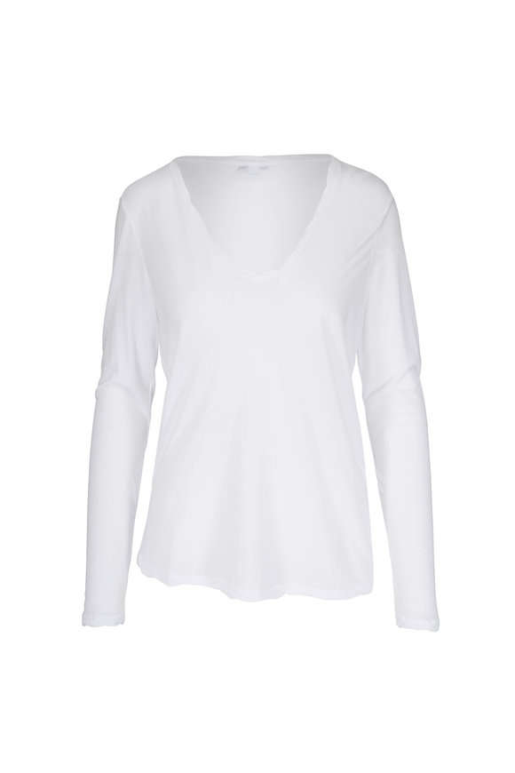 James Perse White Long Sleeve T-Shirt