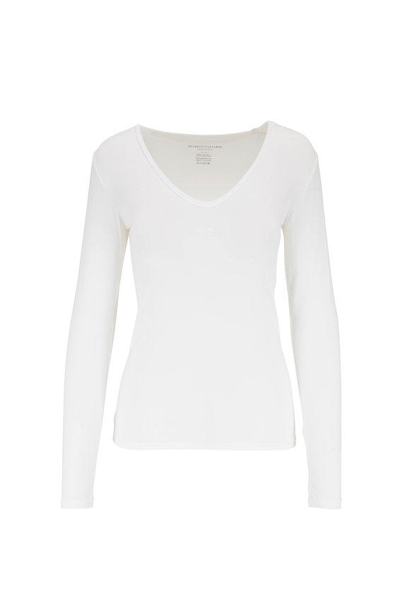 Majestic White Superwashed V-Neck Long Sleeve T-Shirt