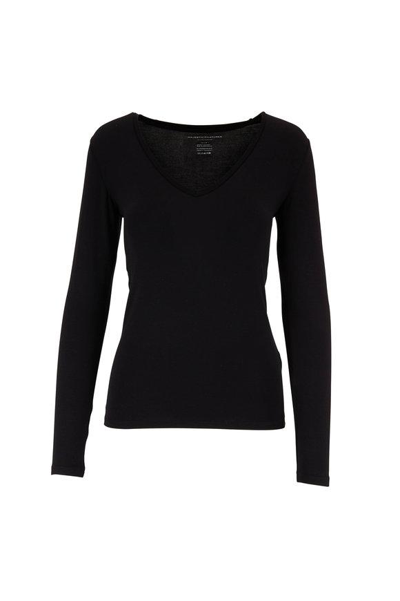 Majestic Black Superwashed V-Neck Long Sleeve T-Shirt