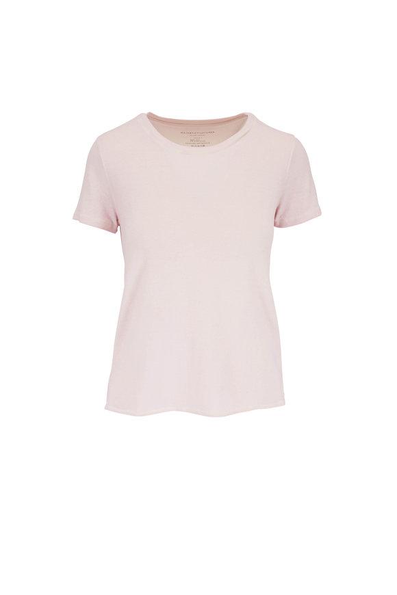 Majestic Pastel Rose Stretch Silk Short Sleeve T-Shirt