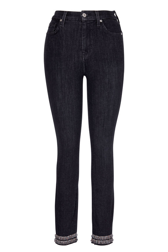 7 For All Mankind Washed Out Black Ankle Fringe Skinny Jean