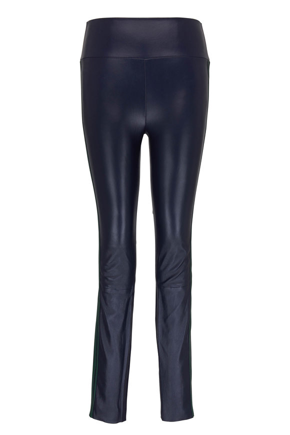 SPRWMN LLC Midnight & Green Striped Ankle Leather Legging