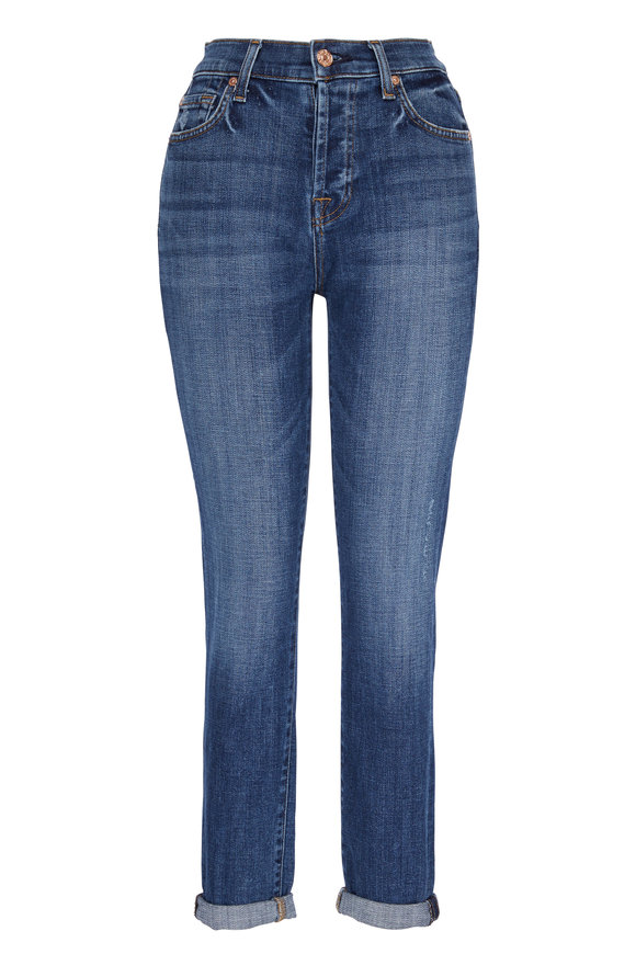 7 For All Mankind Josefina Medium Blue Feminine Boyfriend Jean