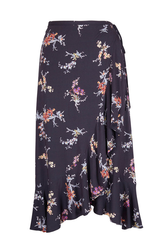 Paige Denim Alamar Black Floral Skirt