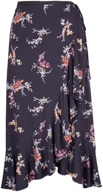 Paige Denim Alamar Black Floral Skirt