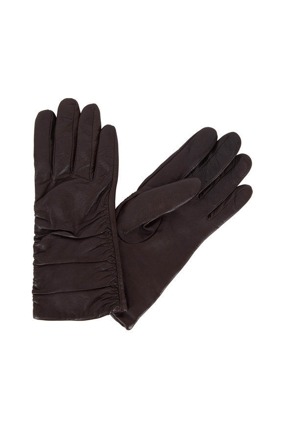 Adrienne  Brown Leather Ruched Gloves