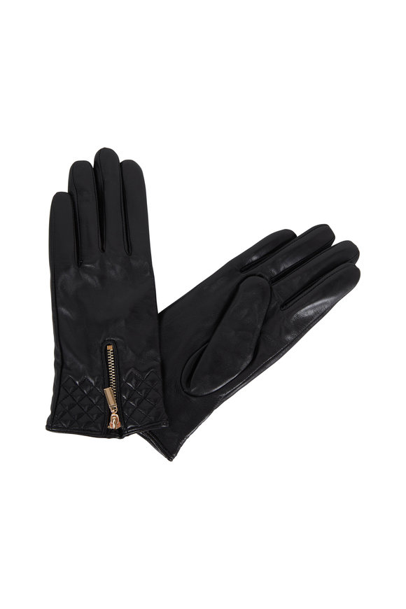 Adrienne  Black Leather Zip & Quilted Wrist Gloves