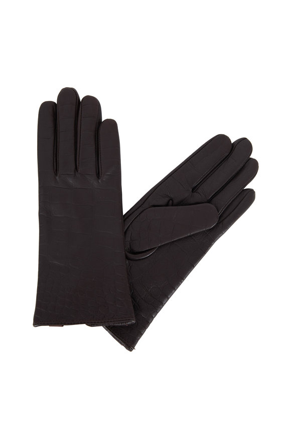 Adrienne  Brown Crocodile Stamped Leather Gloves