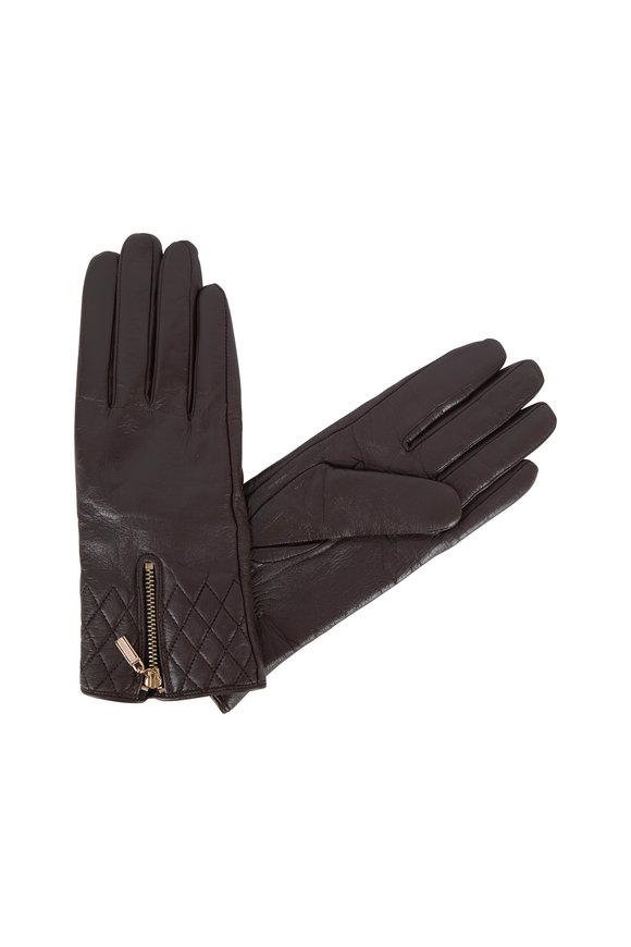 Adrienne  Brown Leather Zip & Quilted Wrist Gloves