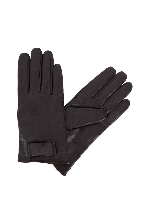 Adrienne  Dark Brown Leather Keyhole Wrist Glove