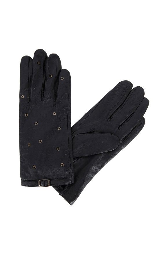 Adrienne  Black Leather Grommet Detail Gloves