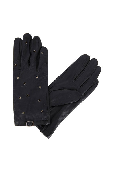 Adrienne - Black Leather Grommet Detail Gloves