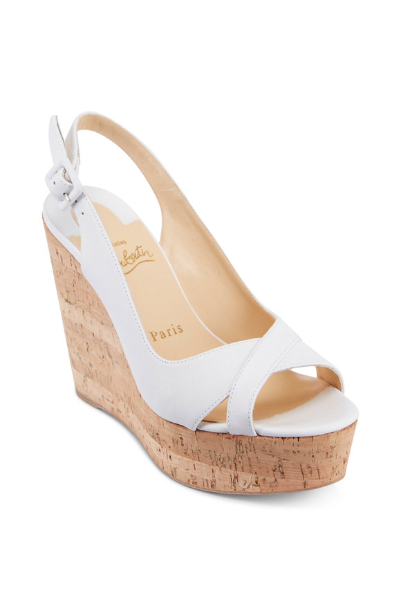 Christian Louboutin White Leather & Natural Cork Sling Wedge, 120mm