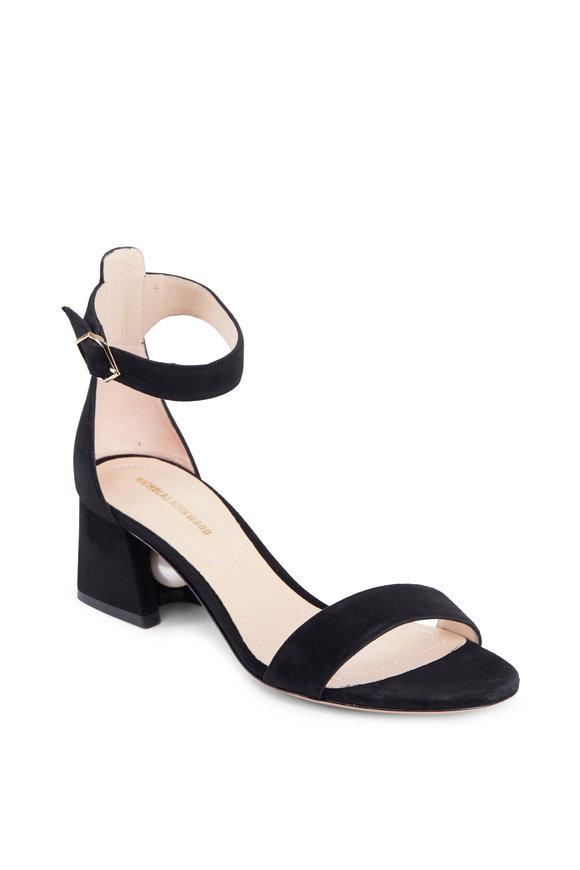 Nicholas Kirkwood Black Suede Ankle Strap Pearl Sandal, 55mm