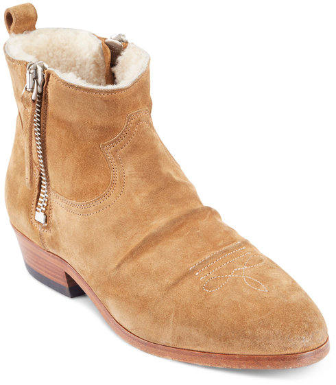 Golden Goose Tawny Suede Shearling Lined Short Boots