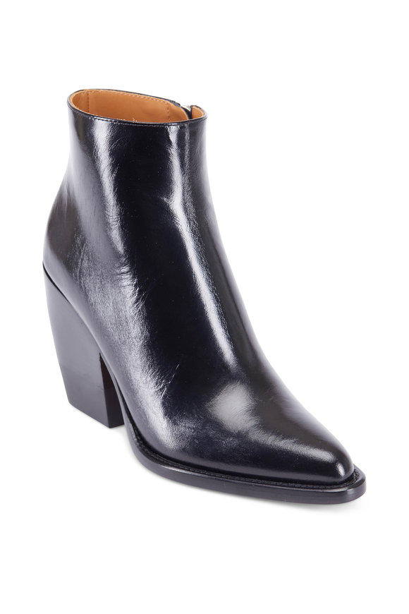 Chloé Black Leather Chunky Heel Ankle Boot, 90mm