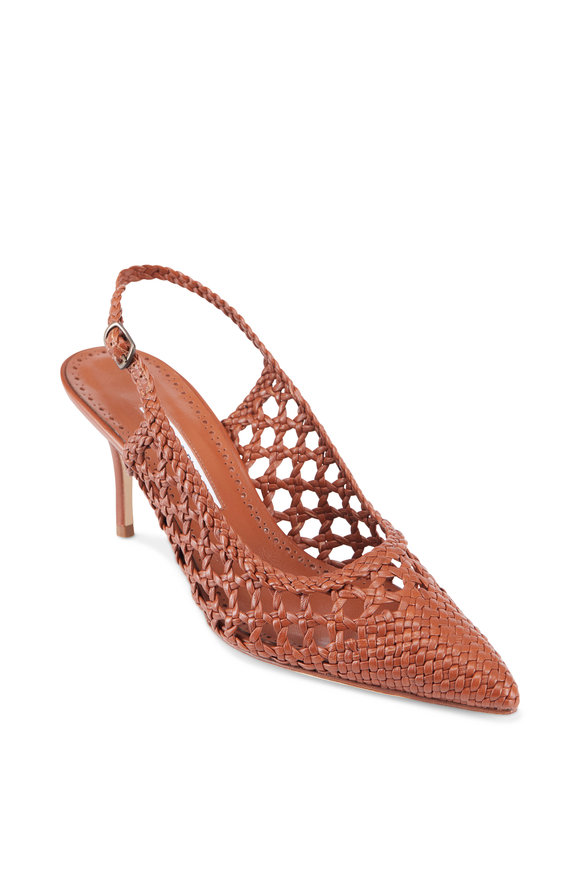 Manolo Blahnik Cognac Nappa Leather Woven Pump Slingback, 70mm
