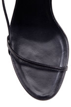 The Row - Bare Black Leather Strappy Sandal, 65MM