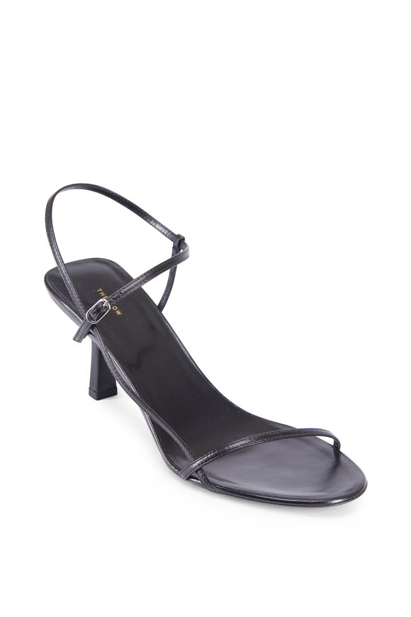 The Row Bare Black Leather Strappy Sandal, 65MM