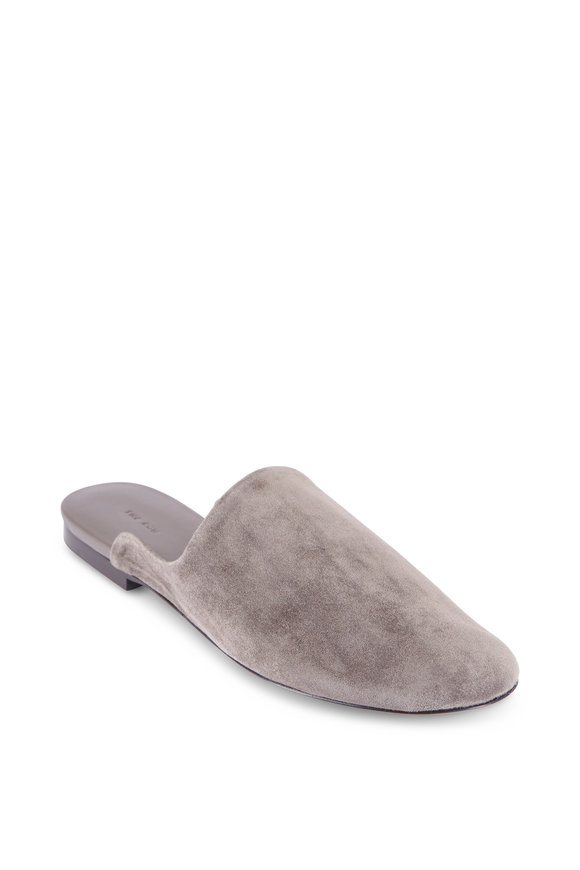 The Row Granpa Slipper Ash Grey Suede Mule