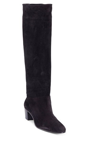 Prada - Calzature Donna Black Suede Slouchy Boot, 45MM