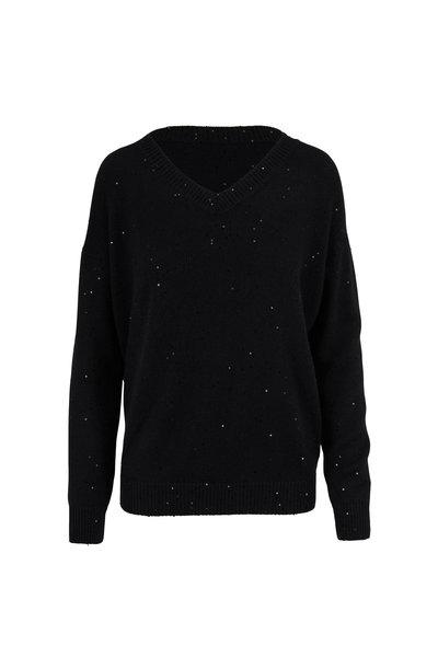 Brunello Cucinelli - Black Cashmere & Silk Pailette V-Neck Sweater