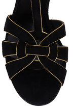 Saint Laurent - Tribute Black Suede With Gold-Piping Sandal, 75mm