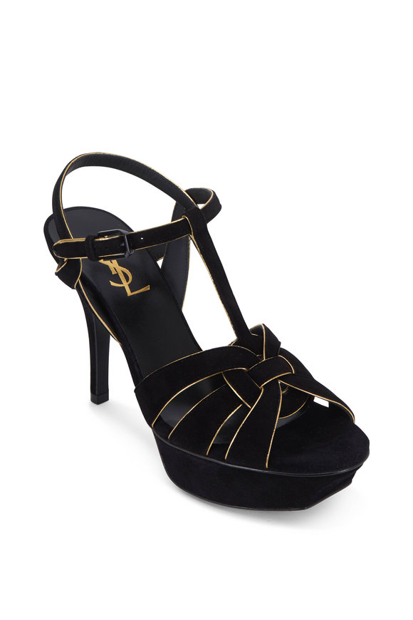 Saint Laurent Tribute Black Suede With Gold-Piping Sandal, 75mm