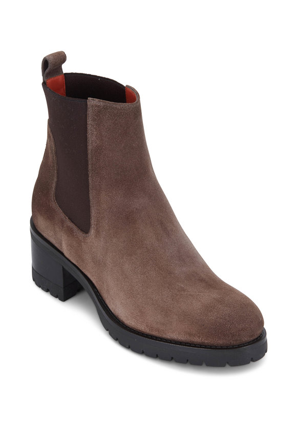 Santoni Dolly Dark Taupe Suede Ankle Boot, 30mm